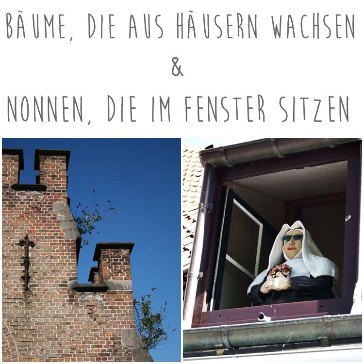 Baumtriebe, die aus einem Gebäude in Brügge wachsen und eine Nonnenpuppe im Fenster { by it's me! }