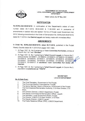 DEMARCATION OF TEHSIL COUNCILS AND ABOLISHED TOWN COMMITTEES OF DISTRICT LAYYAH