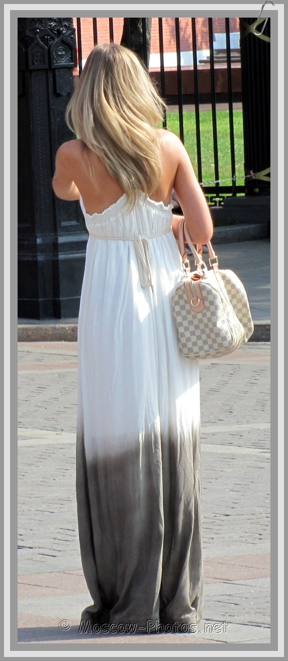 Moscow Blonde Lady in Long Open Summer Dress