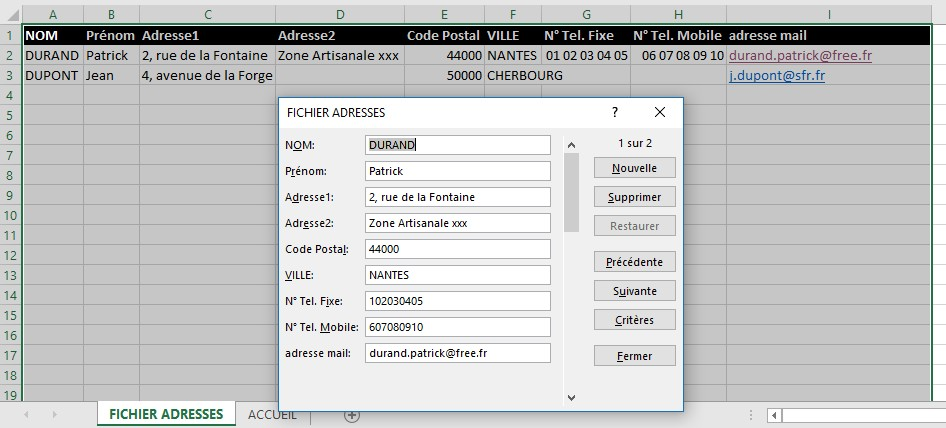 Creer Son Formulaire Cellules Excel