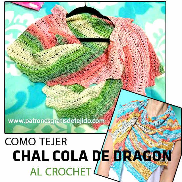 CHAL COLA DE DRAGÓN EN CROCHET
