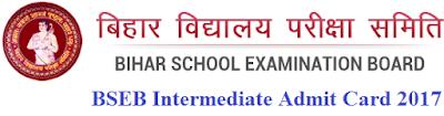 BSEB Intermediate (12th) Admit Card 2017 Bihar Intermediate Roll Number Slip 2017 Download
