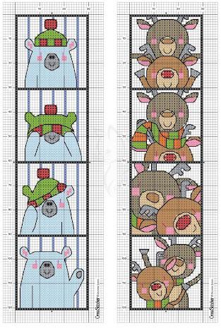 Segnalibri a tema Natale-schema a punto croce   frosty
