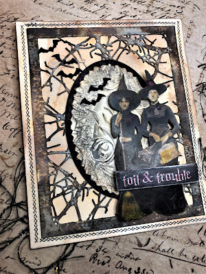 Sara Emily Barker http://sarascloset1.blogspot.com/ Toil and Trouble Card Using Tim Holtz Thinlits, Stamps and Ideaology 1