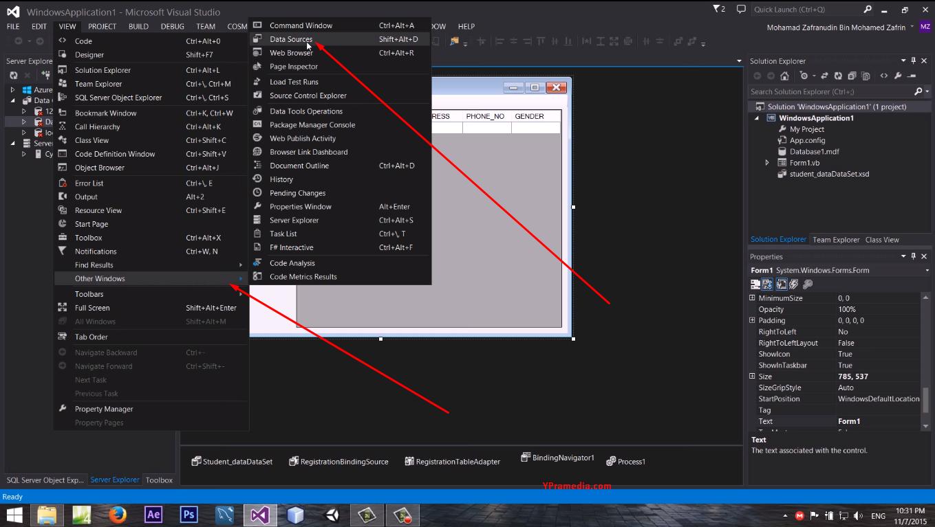 Show Data Sources pada Visual Studio 2013