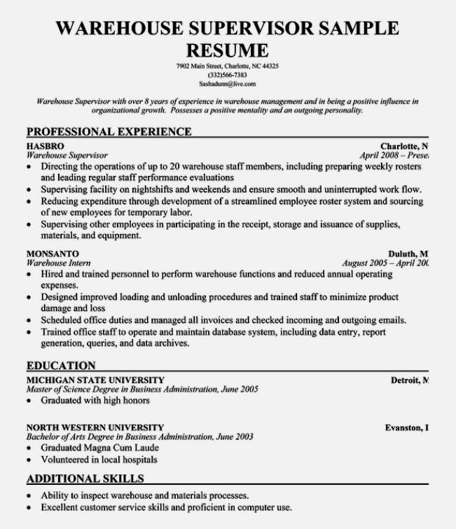 Supervisor Resume Templates Resume Examples For Warehouse Resume