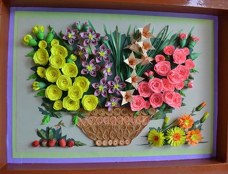 paper quilling rose wall art ~ craft art ideas