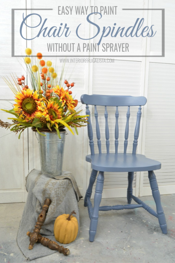 An easy way to paint wooden chair spindles when you don't have access to a paint sprayer or paint indoors. Plus helpful tips, useful products, and more. #woodenchair #upcycledchair #chairspindles