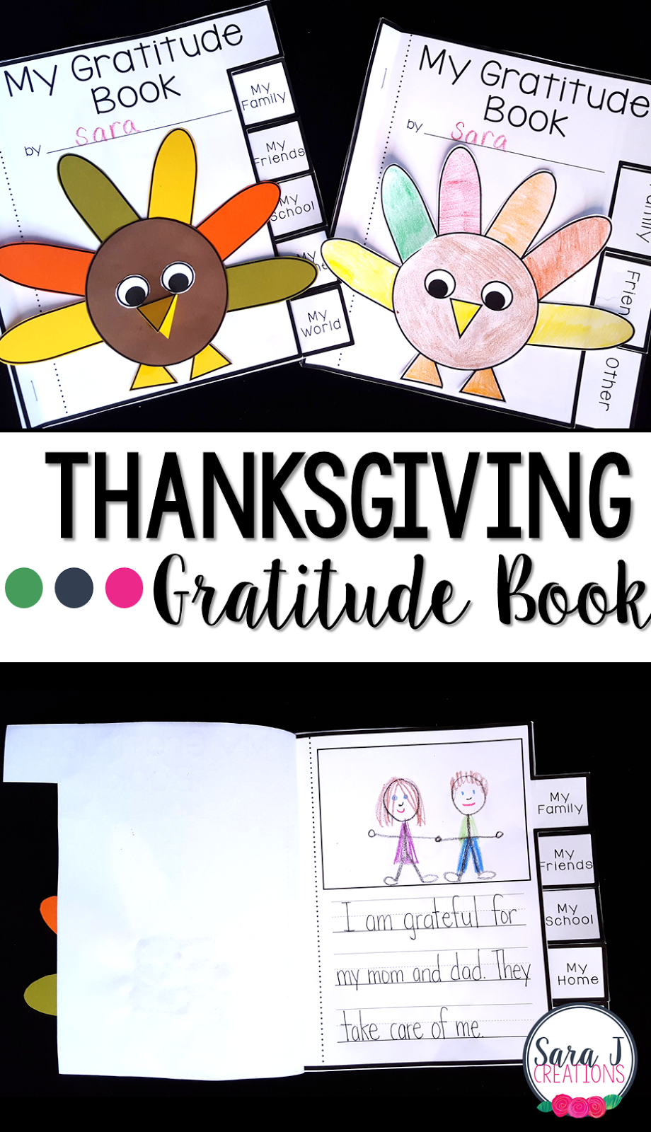 A Thanksgiving Gratitude book for kids to make!  Perfect activity to reflect on what you are thankful for this year.
