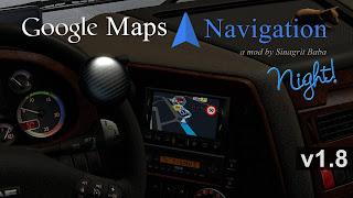 ets 2 google maps navigation night version v1.8