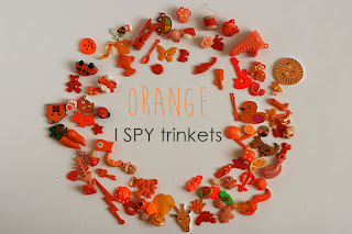 orange TomToy Colorful I spy trinkets, Rainbow miniatures, Rainbow I spy bag filler, Colors I spy bottle, Color sorting activities, Color matching games
