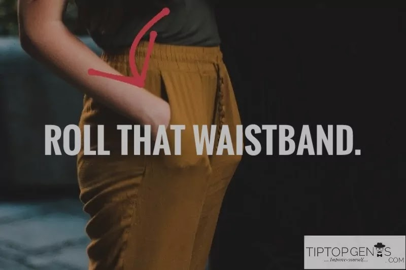 Use pant's second button or hook/ roll its waistband