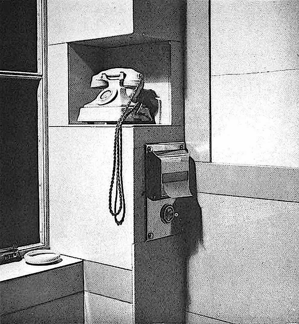 a 1935 hotel bathroom telephone, photograph