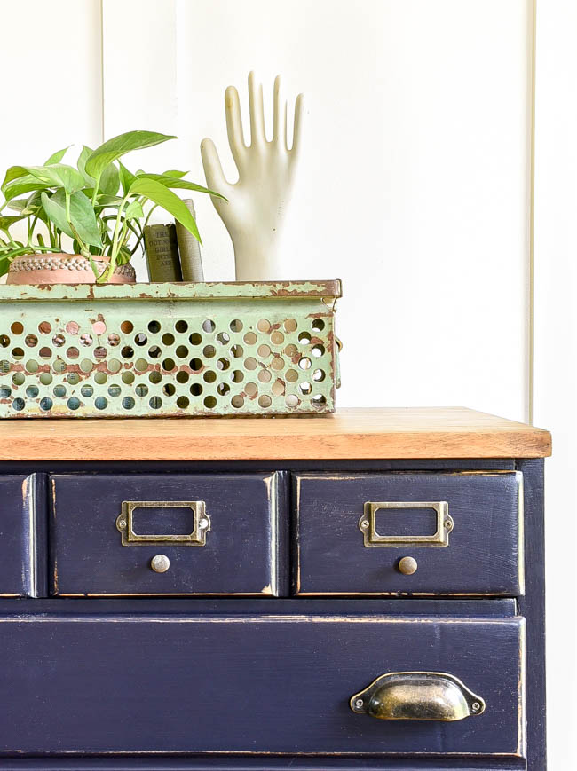 Industrial inspired small dresser makeover