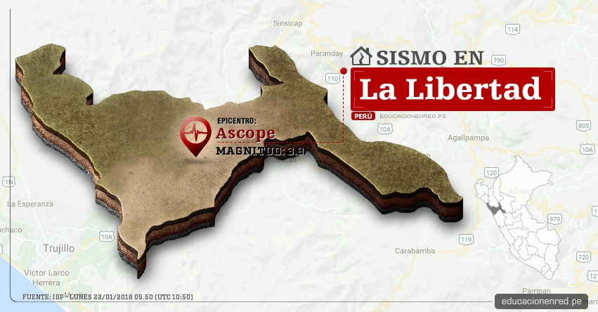 Temblor en La Libertad de magnitud 3.9 (Hoy Lunes 22 Enero 2018) Sismo EPICENTRO Ascope - IGP - www.igp.gob.pe