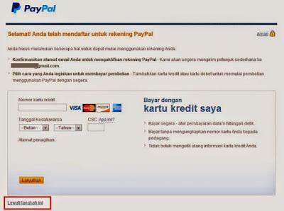 Cara daftar paypal masukan kartu kredit atau lewati