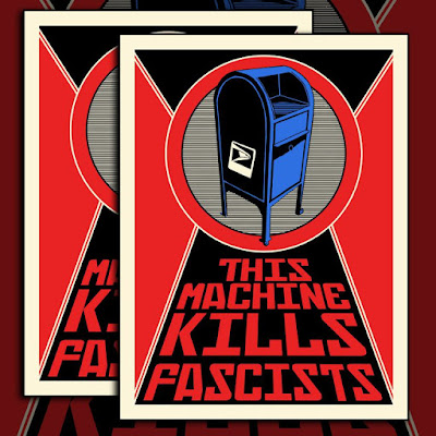 """This Machine Kills Fascists"" USPS Screen Print by Tim Doyle x Nakatomi"