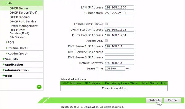 zte f660 gpon ont lan settings