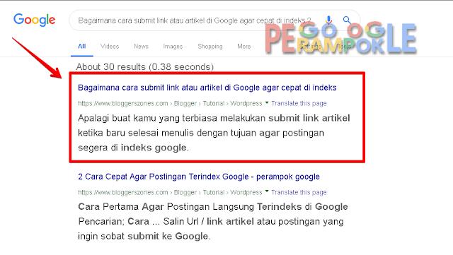 Hasil indeks di pencarian google