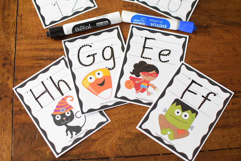 HALLOWEEN THEMED: LETTER AND NUMBER TRACING CARDS