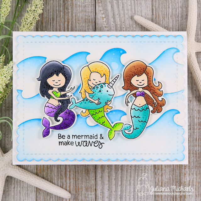 Be A Mermaid Card by Juliana Michaels featuring Newton's Nook Designs Narly Mermaid Stamp Set