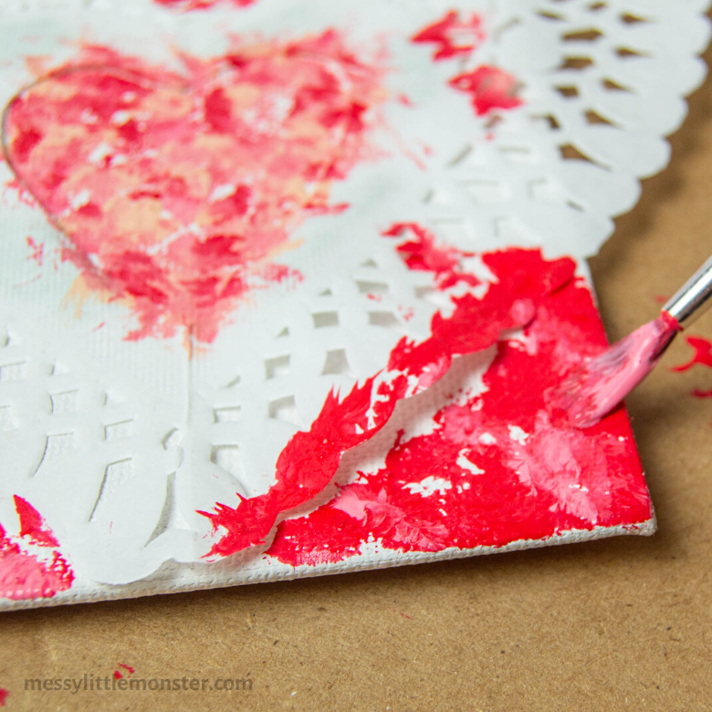 Valentine heart canvas craft for kids