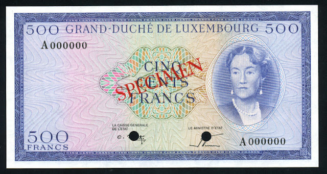 Luxembourg banknotes currency money 500 Francs banknote Grand Duchess Charlotte