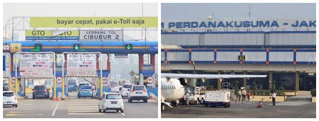 Gerbang Tol Cibubur dan Bandara Halim Perdanakusuma