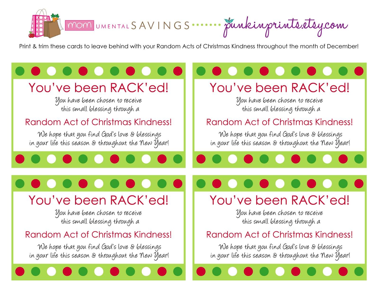 Momumental Savings Random Acts Of Christmas Kindness