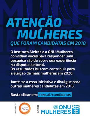Instituto Alziras e ONU Mulheres realizam pesquisa com candidatas nas Eleições 2018