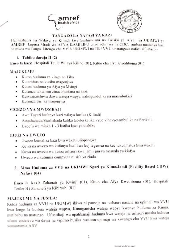 7 Job Vacancies at Kilindi District Council