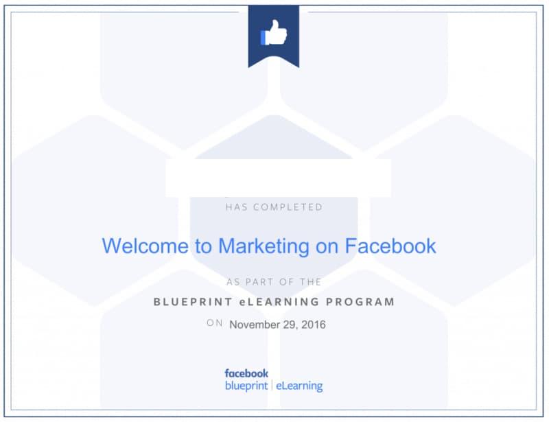 شهادة التسويق من فيسبوك Facebook Blueprint