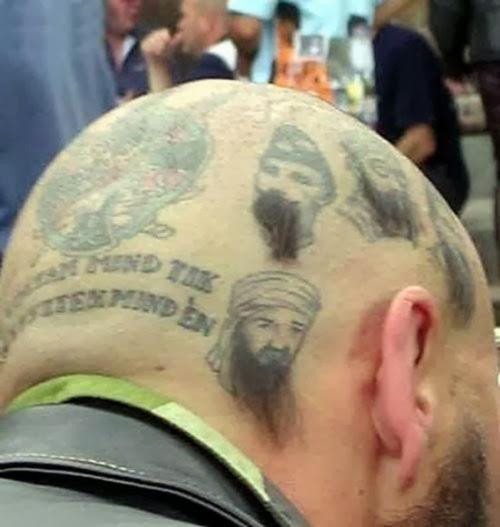 Tatuajes de humor en la cabeza con pelos
