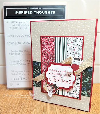 Rhapsody in craft, Cherry Cobbler, #rhapsodyincraft,#heartofchristmas2021,Christmas, Christmas cards, Inspired Thoughts, Tidings of Christmas DSP, Label Me Lovely Punch, Everyday Label Punch, Sweet Stocking DSP, Fine Art Ribbon, Stampin' Up!, Annual Catalogue 2021