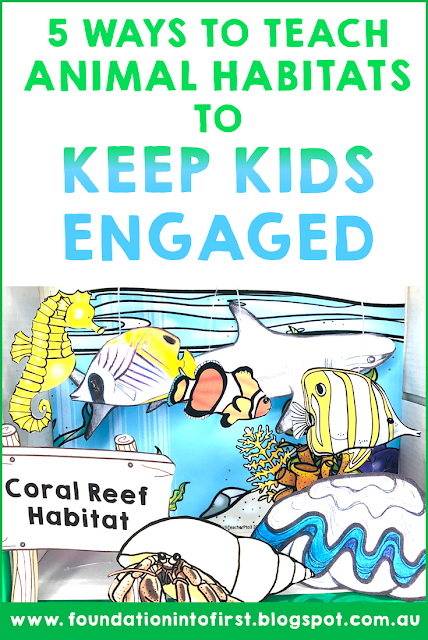 5 Ways to teach animal habitats, such as creatures who inhabit the reef, to keep kids engaged in their science lesson.  #foundationintofirst #techteacherpto3 #animal #habitats #science