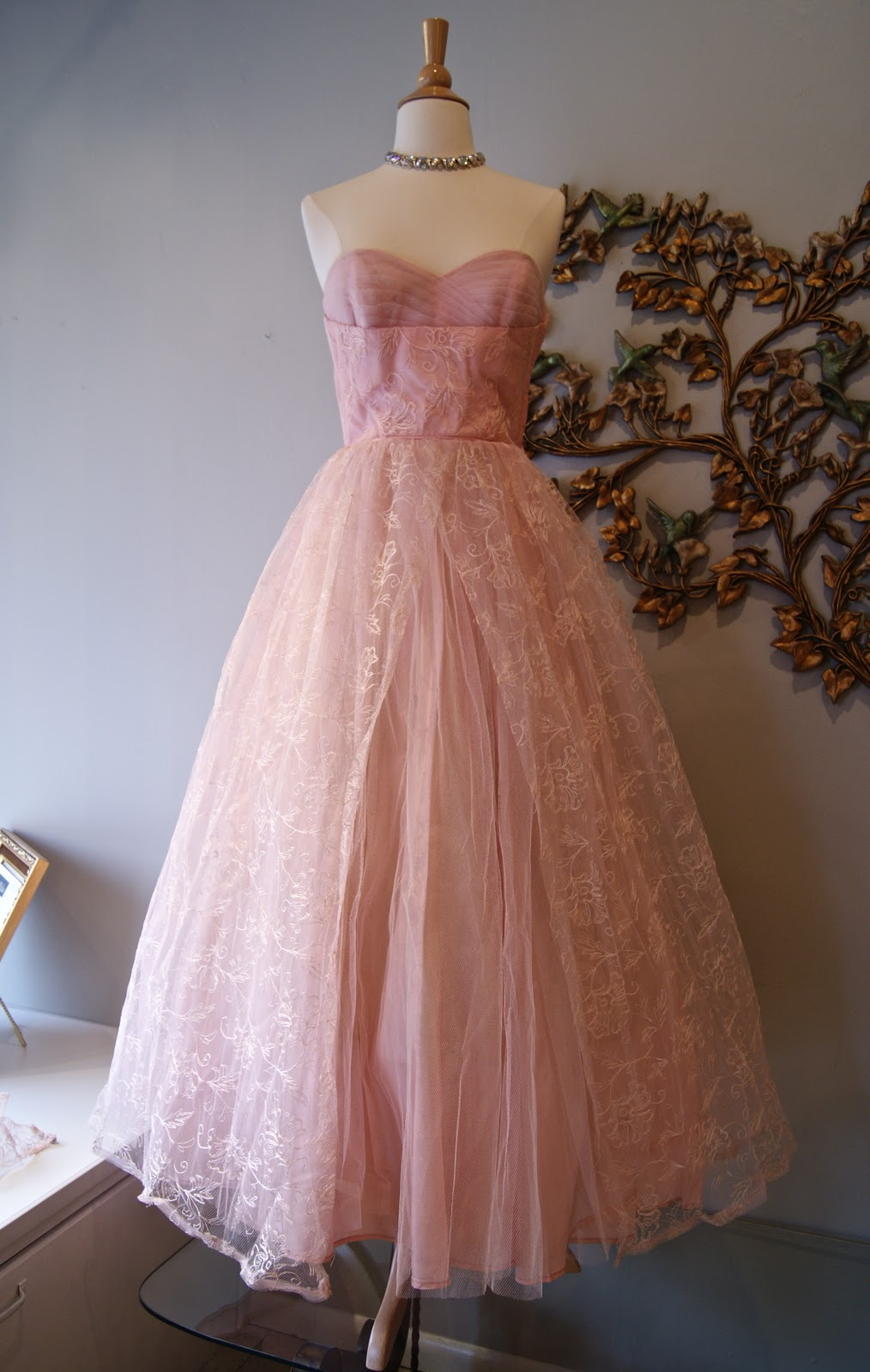 9d2d81081db8 1950 s embroidered tulle powder pink prom formal dress with matching  jacket