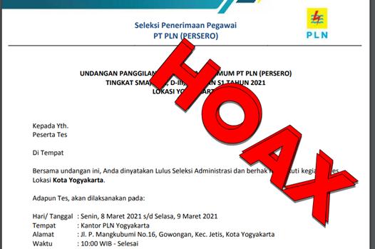 hoax rekrutmen pegawai PLN
