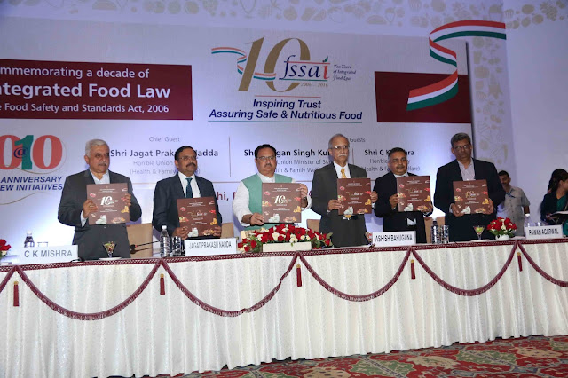 Unveiling the Coffee Table Book – Shri Shri J P Nadda, Honourable Union Minister of Health & Family Welfare,  Shri C K Mishra, Secretary, Ministry of Health & Family Welfare, Shri Pawan Agarwal, CEO, Food Safety & Standards Authority of India(FSSAI), Shri Ashish Bahuguna, Chairperson, FSSAI, Shri Faggan Singh Kulaste, MoS of Health  & Family Welfare
