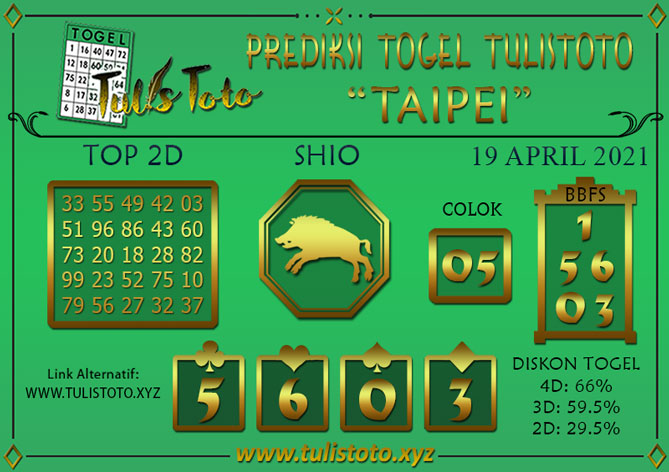 Prediksi Togel TAIPEI TULISTOTO 19 APRIL 2021