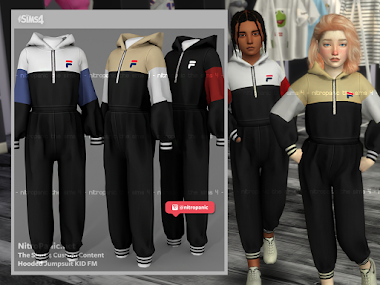Hooded Jumpsuit KID FM for The Sims 4