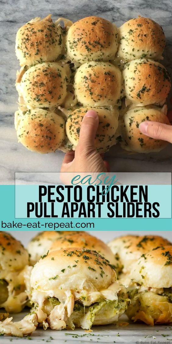 Best Pesto Chicken Pull Apart Sliders (Healthy Recipes)