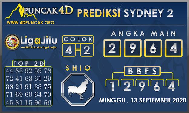 PREDIKSI TOGEL SYDNEY2 PUNCAK4D 13 SEPTEMBER 2020