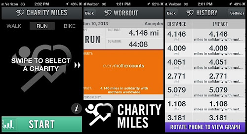 Charity Miles iPhone Health and Fitness App