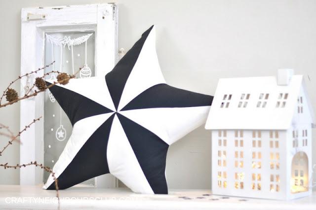 Sternenkissen schwarz weiß