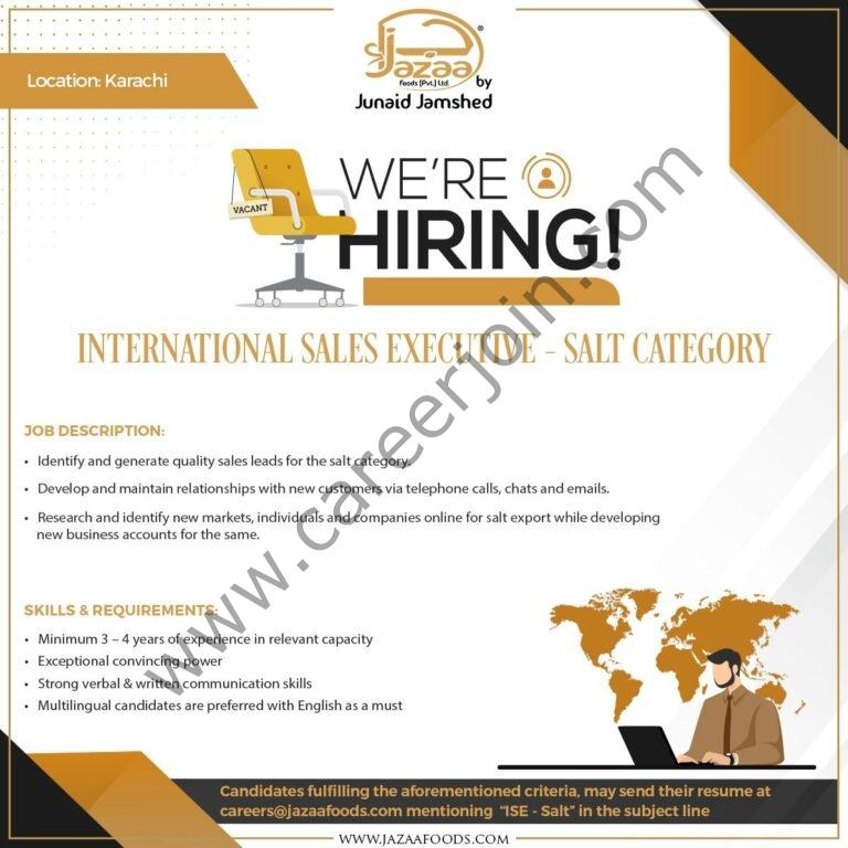 Jazaa Foods Pvt Ltd Jobs International Sales Executive