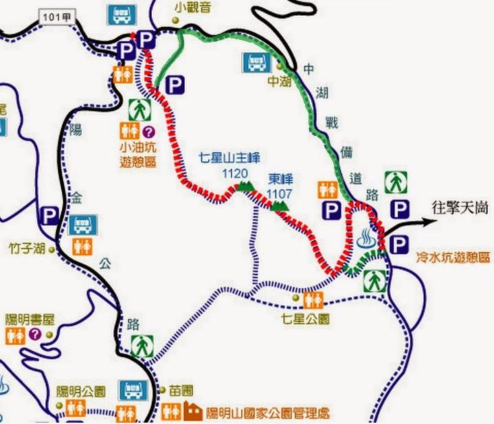 整理心情 : 臺北最高峰七星山登山路線 小油坑-主峰-東峰-冷水坑
