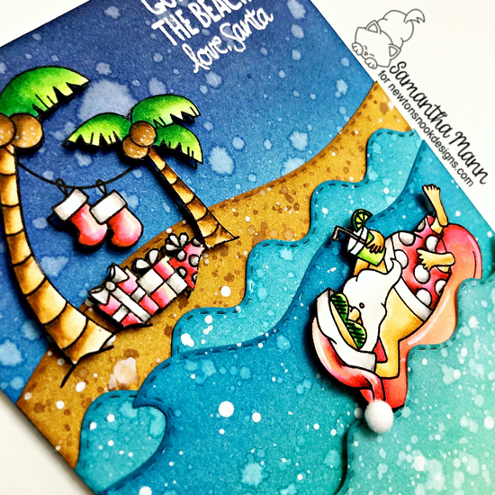 Santa's Gone to the Beach Card by Samantha Mann | Sun Soaked Christmas Stamp Set, Land Borders Die Set and Sea Borders Die Set by Newton's Nook Designs #newtonsnook #handmade