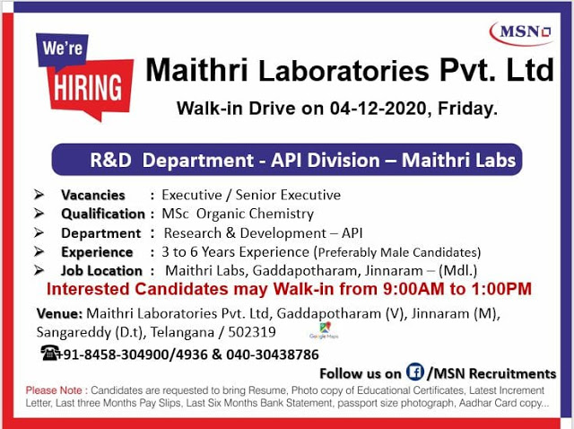 Maithri Labs   Walk-in interview for R&D on 4 Dec 2020