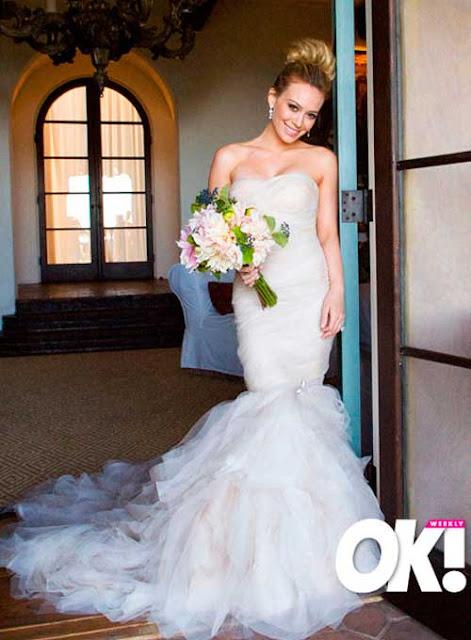 Vestido noiva estilo sereia das famosas baixinhas, Hillary Duff