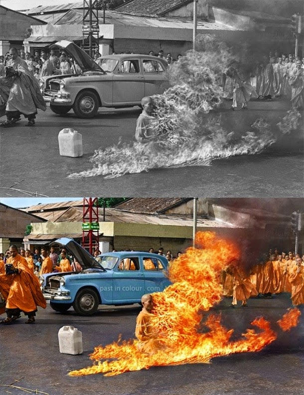 28 Realistically Colorized Historical Photos Make the Past Seem Incredibly Alive - Thich Quang Duc's self-immolation, 1963